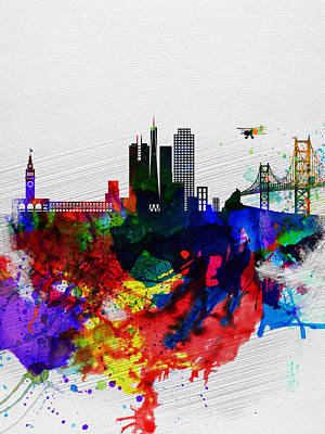 Place Painting -  San Francisco Watercolor Skyline 1 by Naxart Studio