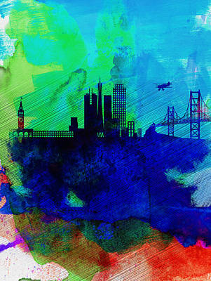 San Francisco Watercolor Skyline 2 Art Print by Naxart Studio