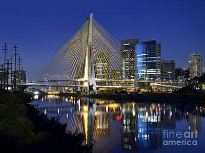 Photograph -  Sao Paulo's Iconic Cable-stayed Bridge And Its Reflex Over Pinh by Carlos Alkmin