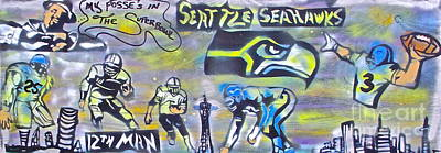 Sports Paintings -  Seattle Seahawks Superbowl  by Tony B Conscious
