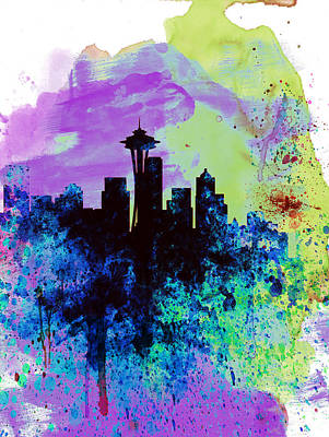 Seattle Digital Art -  Seattle Watercolor Skyline 1 by Naxart Studio