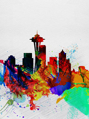 Landscape Digital Art -  Seattle Watercolor Skyline 2 by Naxart Studio