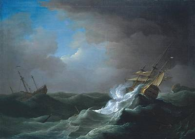 Ships In Distress In A Storm Art Print by MotionAge Designs