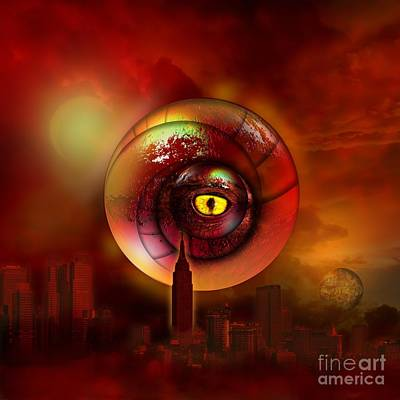 Tower Digital Art -  Signs In The Sky A Red Dragon by Franziskus Pfleghart