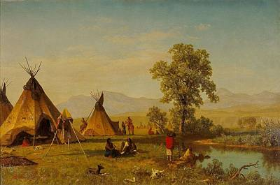 Landscape. Mountain Trees Water Bush Painting -  	Sioux Village Near Fort Laramie by Albert Bierstadt