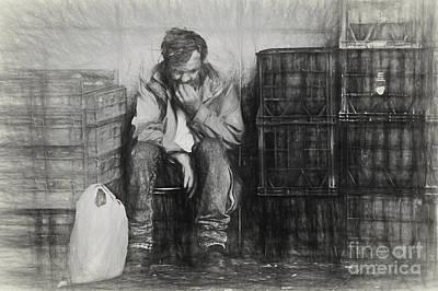 Sketch Of Man Amongst Crates Art Print by Avalon Fine Art Photography