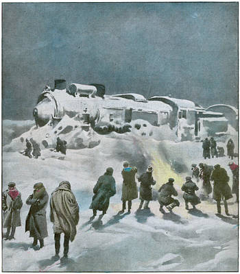Snow Halts The Train On The Art Print by Mary Evans Picture Library