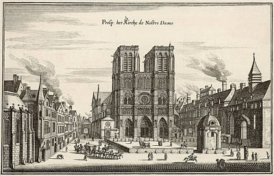 Notre Dame Drawing -  Social Scene Outside Notre  Dame by Mary Evans Picture Library