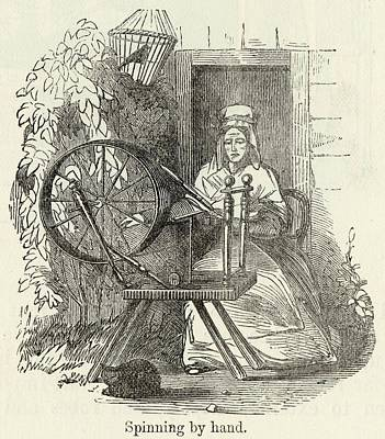 Spinning Drawing -  Spinning Cotton Using A  Spinning by Mary Evans Picture Library