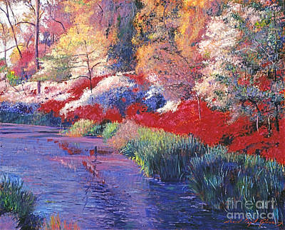 Spring Azalea Reflections Art Print by David Lloyd Glover