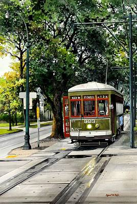 Painting -  St. Charles Streetcar by Robert W Cook