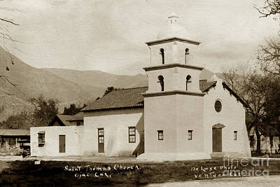 Print featuring the photograph  St. Thomas Aquinas Catholic Church  Ojai Cal 1920 by California Views Mr Pat Hathaway Archives