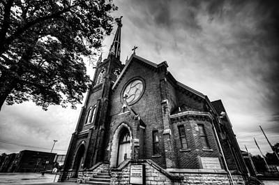 Photograph -  St. Wenceslaus Church In Cedar Rapids In Black And White by Anthony Doudt