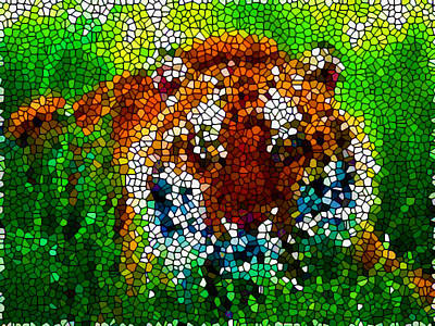 Handmade Glass Flower Painting -  Stained Glass With A Tiger by Lanjee Chee