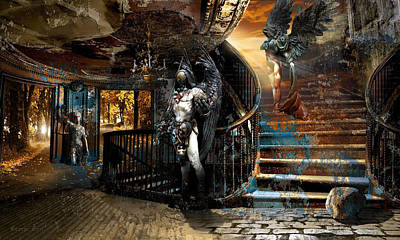 Surrealism Royalty Free Images - Stairway to Heaven vs. Stairwell to Hell Royalty-Free Image by George Grie