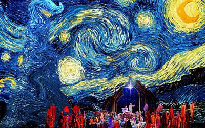 Manger Scene Digital Art -  Starry Night In Bethlehem by Sylvia Thornton