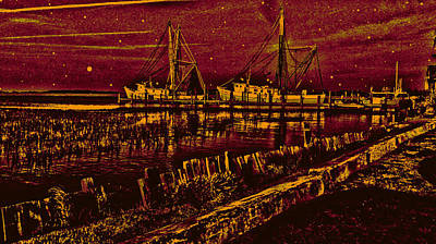 Stary Night Time At The Docks Art Print