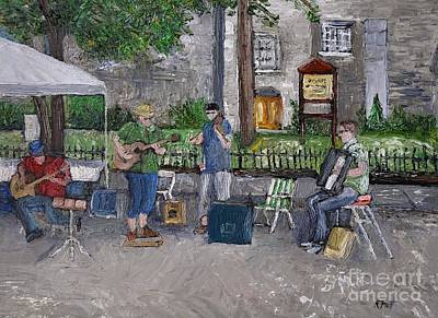 Painting -  Ste Catherine Street Musicians by Reb Frost