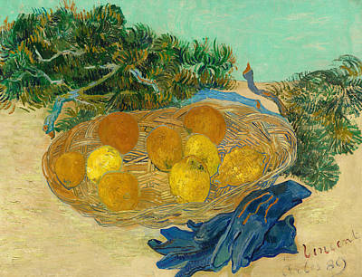Lime Painting -  Still Life Of Oranges And Lemons With Blue Gloves by Vincent van Gogh