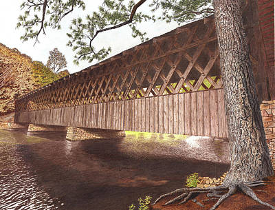Covered Bridge Mixed Media -  Stone Mountain Covered Bridge by Cloud Farrow
