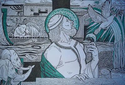 Noahs Ark Drawing -  Story Of Noah by Ottilia Zakany