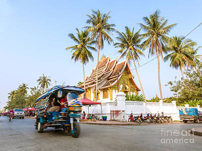 Tuk Tuk Photograph -  Street View With Tuk Tuk And Temple - Luang Prabang - Laos  by Matteo Colombo