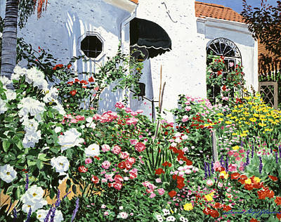 Stucco Painting -  Summer Garden Flowers by David Lloyd Glover