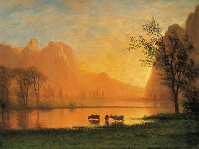 Sundown At Yosemite Painting - Sundown At Yosemite by Albert Bierstadt