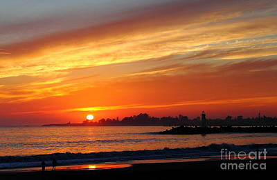 Photograph -  Sunset At Santa Cruz Harbor 1 by Theresa Ramos-DuVon