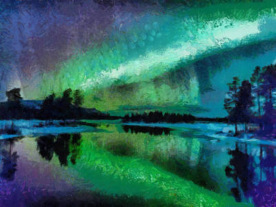 Sunset In Lapland Aurora Borealis Art Print