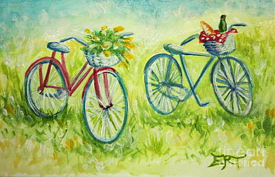 Painting -  Sweet Bike Ride Picnic by Elizabeth Robinette Tyndall