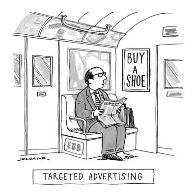 Advertising Drawing - Targeted Advertising A Man Sits On The Subway by Joe Dator