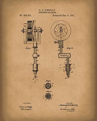 Drawing -  Tattoo Machine 1891 Patent Art Brown by Prior Art Design