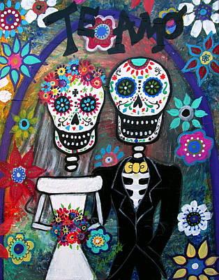Painting -  Te Amo Wedding Dia De Los Muertos by Pristine Cartera Turkus