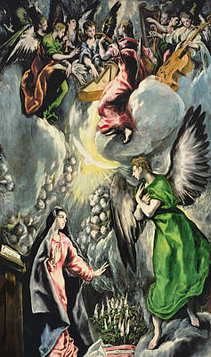 Double Bass Painting -  The Annunciation by El Greco Domenico Theotocopuli