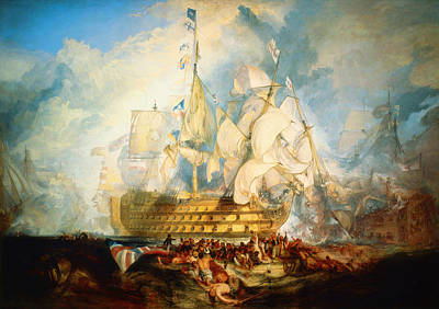 Turner Artwork Painting -  The Battle Of Trafalgar by Celestial Images