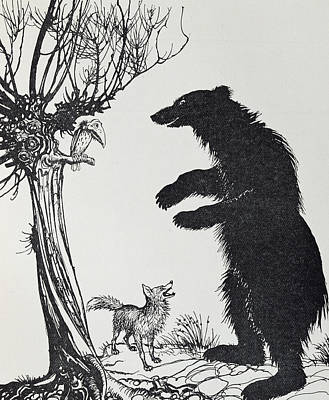 Fabled Painting -  The Bear And The Fox by Arthur Rackham