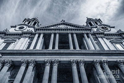 The Columns Of St Paul's Cathedral West Facade From Ludgate Hil Art Print