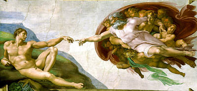 White Shirt Painting -   The Creation Of Adam by Michelangelo di Lodovico Buonarroti Simoni
