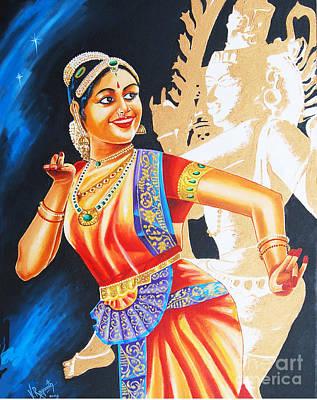 Art Print featuring the painting  The Dance Divine by Ragunath Venkatraman