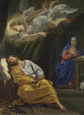 Joseph Photograph -  The Dream Of Saint Joseph by Philippe de Champaigne