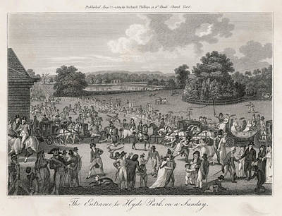 Hyde Park Drawing -  The Entrance To Hyde Park, On  A Sunday by Mary Evans Picture Library