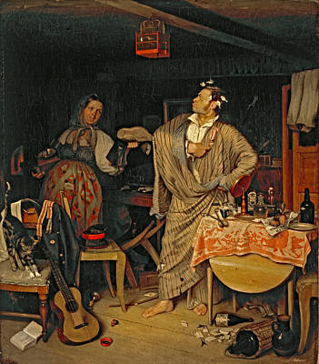 Pavel Painting -  The Fresh Cavalier. The Morning After Of An Official Who Has Received His First State Order by Pavel Fedotov