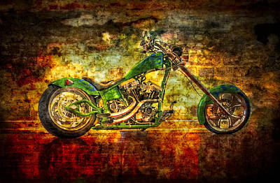 Two-wheeler Photograph -  The Green Chopper by Debra and Dave Vanderlaan