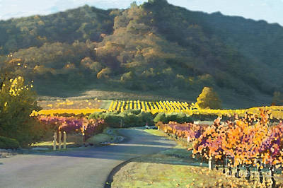 Painting -  The Hills Of Clos La Chance Winery by Artist and Photographer Laura Wrede