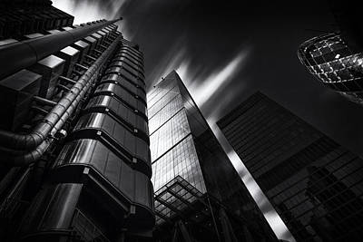 Gherkin Photograph -  The Lloyds Building And Gherkin London by Ian Hufton