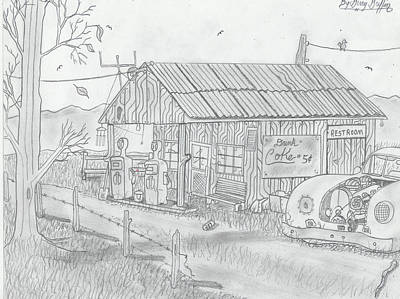 Gerald Griffin Drawing -  The Lost In Time Gas Station by Gerald Griffin