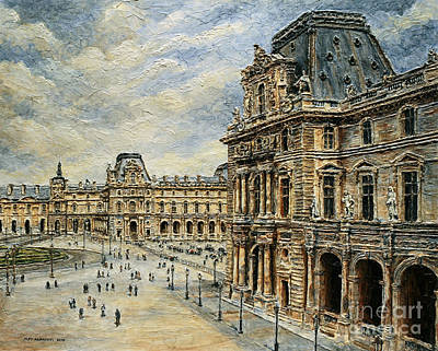 Painting -  The Louvre Museum by Joey Agbayani