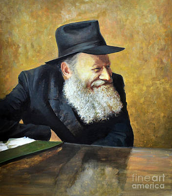 Painting -  The Lubavitcher Rebbe Smiling by Eugene Maksim