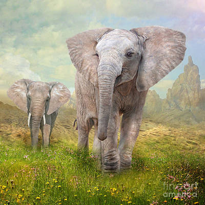 Elephants Digital Art -  The New World by Trudi Simmonds